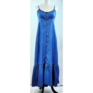 Free People Dresses - Free People denim snap button down maxi dress S